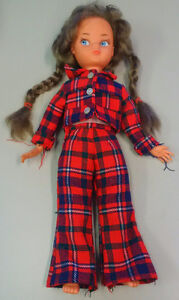 1960's BELLA FRANCE FASHION MOD DOLL w. Red PLAID Outfit Poupee