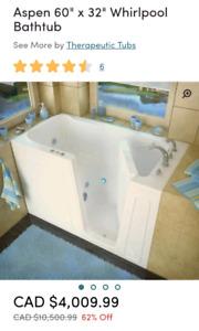 New in Box 60 x 32 Whirlpool Bathtub