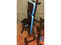 Folding Adjustable Weights Bench + Plates & Bars