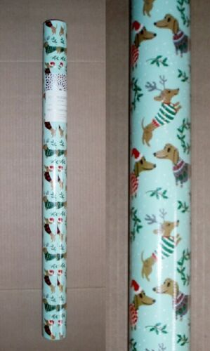 """30"""" x 120"""" Roll of Holiday Dachshund Dog Christmas Wrapping Paper in Pale Green"""