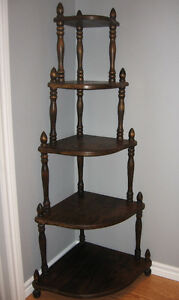 Handmade 5 Tier Wood Corner Shelving Unit