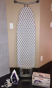 T-FAL IRON ULTRAGLIDE & DELUXE IRONING BOARD WITH REST