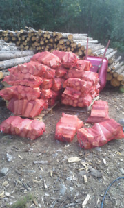 Bags of dry mixed firewood