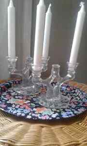 3 glass candle holders
