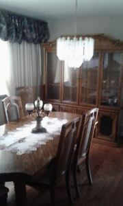 Oak Dining room Set - 6 Chairs, table and hutch