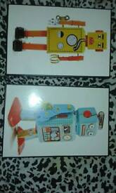 From next 2x wood boys bedroom canvas style pictures