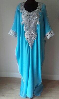 Dubai Abaya Jalabiya Kaftan Farasha Silver Diamante Maternity Summer Wedding Eid for sale  Shipping to United States