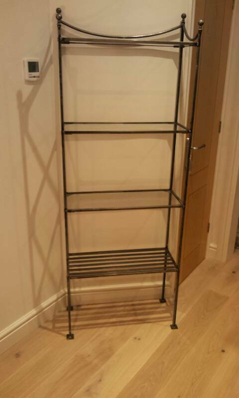 Gothic style metal & tempered glass shelving unit