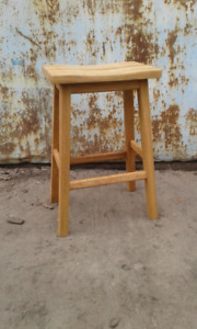 Solid oak counter stool - saddle seat - Rustic Furniture Outlet