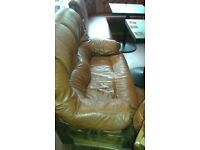 free 2 seater and 1 seater leather chairs