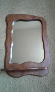 Wooden Mirror with Shelf