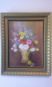 Vintage floral oil on canvas painting signed by artist