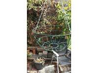 Large green Hanging basket with chain