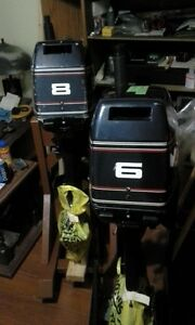 6 hp evinrude ,with 8 hp conversion kit . maybe 5 hrs on motor