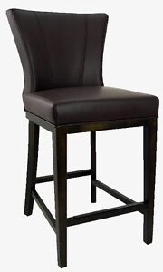 Kitchen Counter Height Stool with Back in Brown Leather
