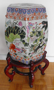 Pair Famille Rose Chinese Porcelain Garden Seats - HEXAGONAL