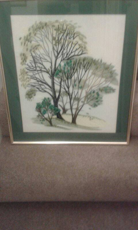 Large framed embroidery of trees
