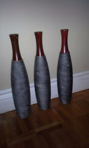 3 New Resin Vases with Box