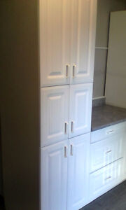 white kitchen base, wall, and counter tops,