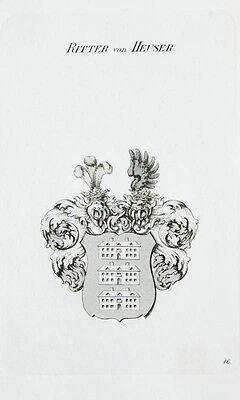 1870 Wappen von Heuser Kupferstich Tyroff