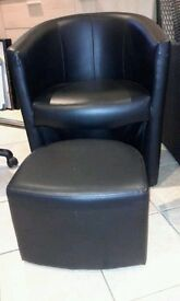 ** BLACK LEATHER TUB CHAIR & PULL OUT FOOTSTOOL **