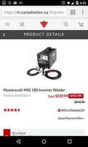 Mastercraft MIG 180 Inverter Welder + Socket and Tool set