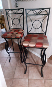 BARSTOOLS , METAL , NEWLY UPHOLSTERED.
