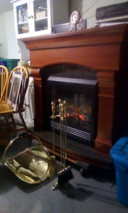 Cherry wood full size electric fireplace