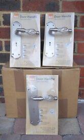 B&Q satin nickel effect external door handles