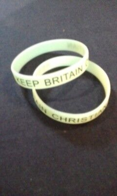 Glow Wristbands Bulk (2 x KEEP BRITAIN CHRISTIAN Adult/Youth Wristbands - GLOW IN THE DARK green)