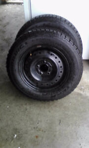 2 Goodyear Nordic Tires on Rims