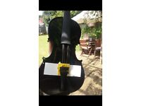 brand new never used black full sized violin with bow and case