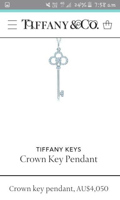 2f658fcf055 Tiffany   Co 18ct white gold crown key pendant