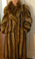 Full Length Raccoon Fur Coat and Hat