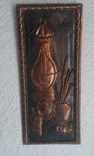 "Copper Decoration ""Light , Pencils and Oil Paint Tubes"" Wall Attachable . Imported from Holland."