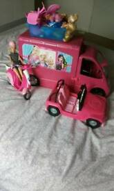 Barbie campervan, car & scooter