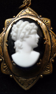 Antique Cameo Onyx Locket Necklace