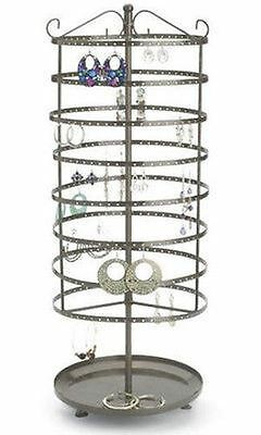 For Sale Earring Rotating Display Rack - 432 Holes 24 Tall Raw Steel Finish