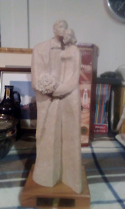 Concrete statue man and woman 16 inches high