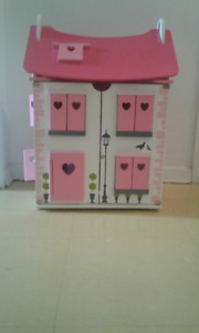 Girls Pink Wooden Doll House