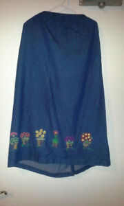 Long Denim Skirt with Flowers for Sale