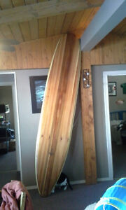 "9""6"" hollowcore wooden surfboard"