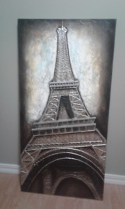 Wall art raised image of Eiffel tower 23 1/2 inch X 47 1/2 inch