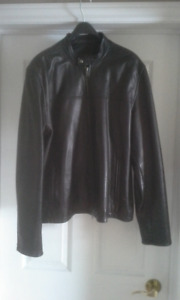 Mens Danier Leather Bomber Jacket (Large)
