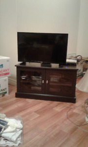 TV Stand with glass cabinet doors