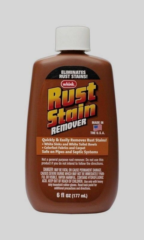 WHINK Liquid RUST Stain Remover Cleans From Fabrics White Bowls Sinks Toilet 6oz Cleaning Products
