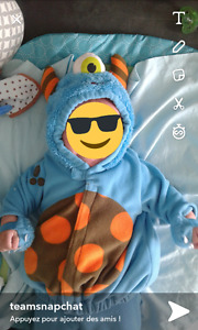 costume halloween monstre 0-6 mois