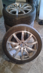 5 bolt 20 inch chrome akuza road concepts rims and tires