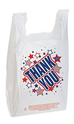 For Sale 500 Plastic T-Shirt (Americana Thank You) Bags (White)