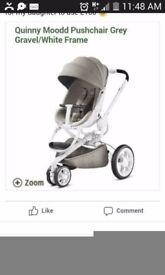 very good condition pushchair made by quinny mood. white and grey